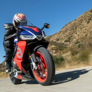 Riding the Aprilia RS 660 in the hills above Santa Barbara, Calif.