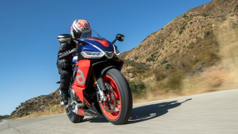 Riding the Aprilia RS 660 in the hills above Santa Barbara, Calif.