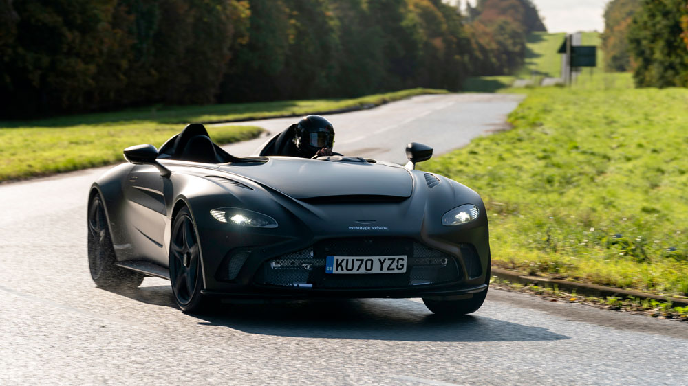 Aston Martin's first working prototype of the V12 Speedster on a track.