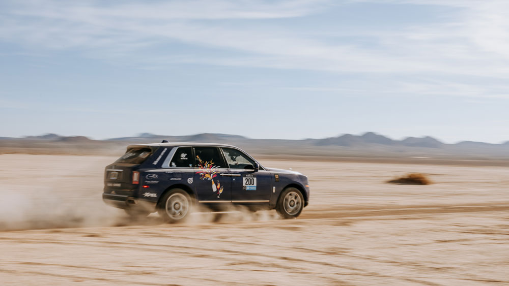 A Rolls-Royce Cullinan competing in the 2019 Rebelle Rally.