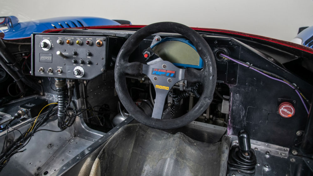 The cockpit of Nissan's 1990 NPT-90 race car, chassis No. 90-01.