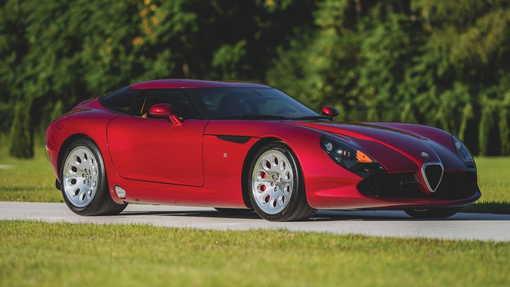The 2010 Alfa Romeo TZ3 Stradale Zagato crossing the auction block on October 23, 2020.