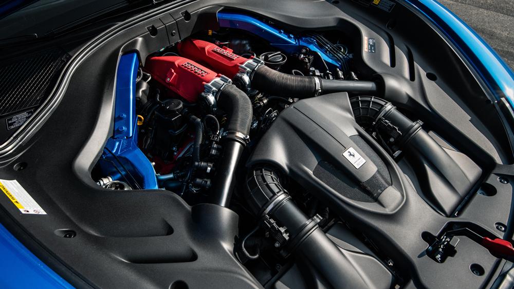 The V-8 engine in the Ferrari Roma.