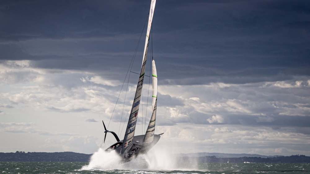 America's Cup yacht Patriot sailing in New Zealand