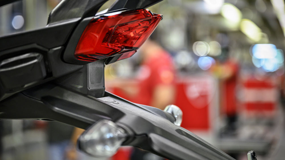 A detail of the the Ducati Multistrada V4's radar system at the rear.