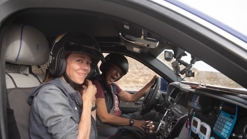Emme Hall and Rebecca Donaghe in their Rolls-Royce Cullinan while competing in the 2019 Rebelle Rally.