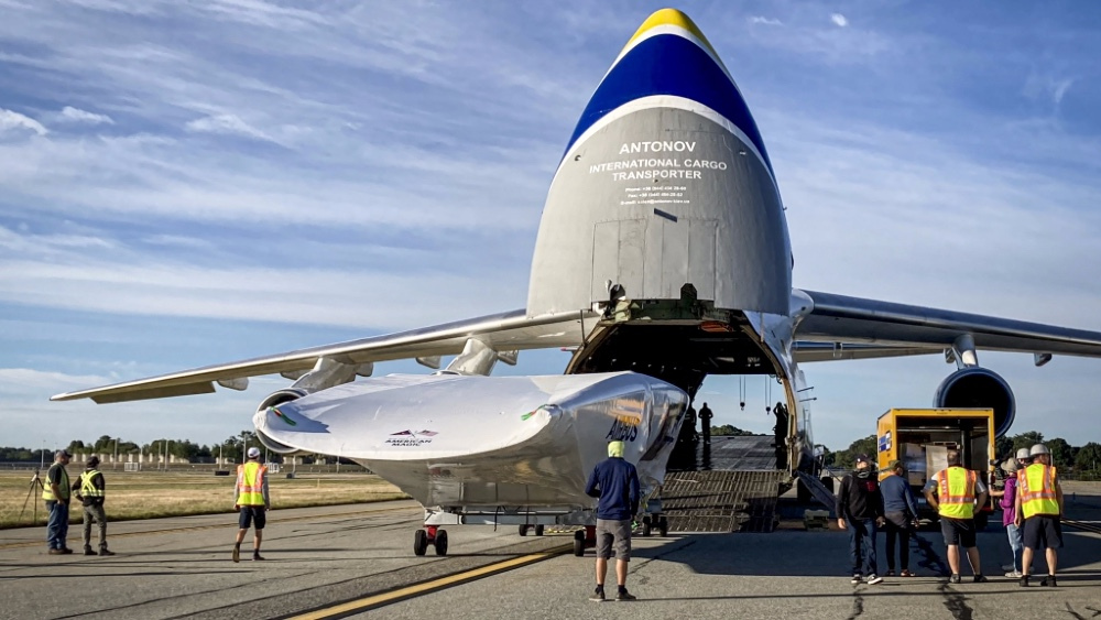 Americas Cup Yacht Patriot was shipped by cargo aircraft 9000 miles to Auckland, New Zealand from Rhode Island