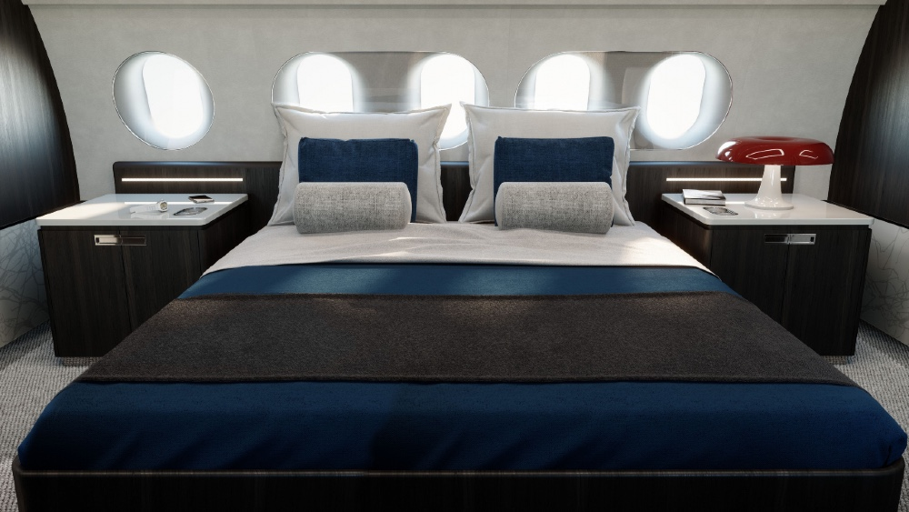 The kingsize bedroom in this Airbus business jet shows its huge space