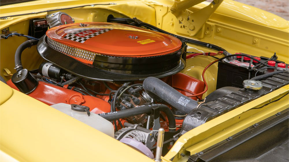 The engine inside a restored 1970 Plymouth Superbird 4-Speed.