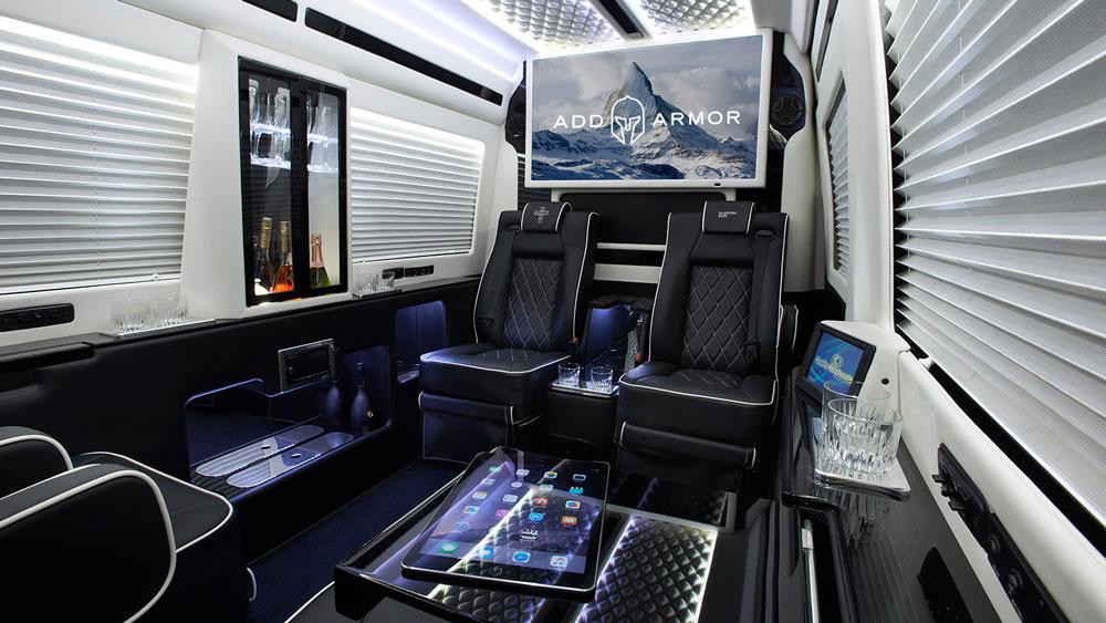 Inside AddArmor's armored Mercedes-Benz Sprinter van.