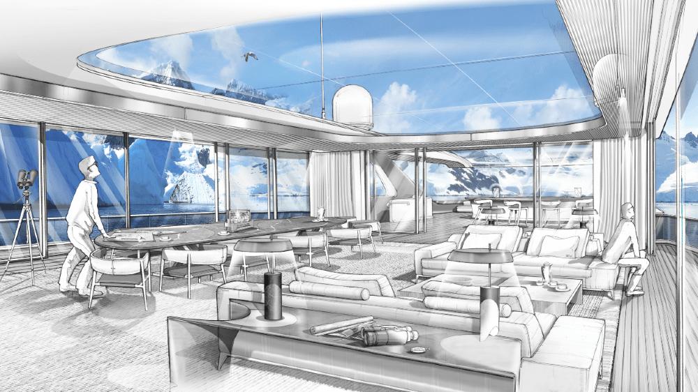 Upper Salon of the Heesen XVenture Explorer Yacht