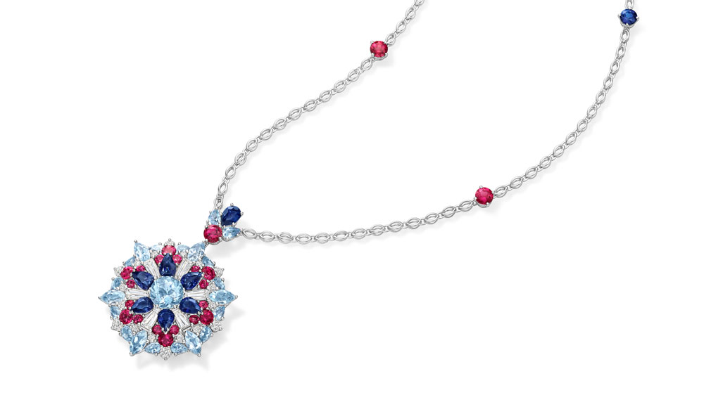 Harry Winston Kaleidoscope Pendant in Aquamarine, Sapphires, Rubellite and Diamonds