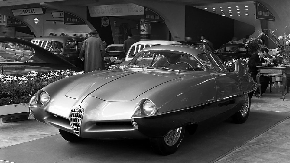 The Alfa Romeo B.A.T. 9 at the 1955 Turin Automobile Salon.