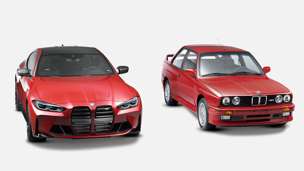 The 2021 BMW M4 Competition and 1989 BMW E30 M3 that are both one-off examples from Kith's collaboration with BMW.