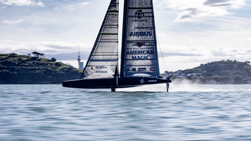 America's Cup Yacht Patriot Sails for the First Time in Auckland Last Week