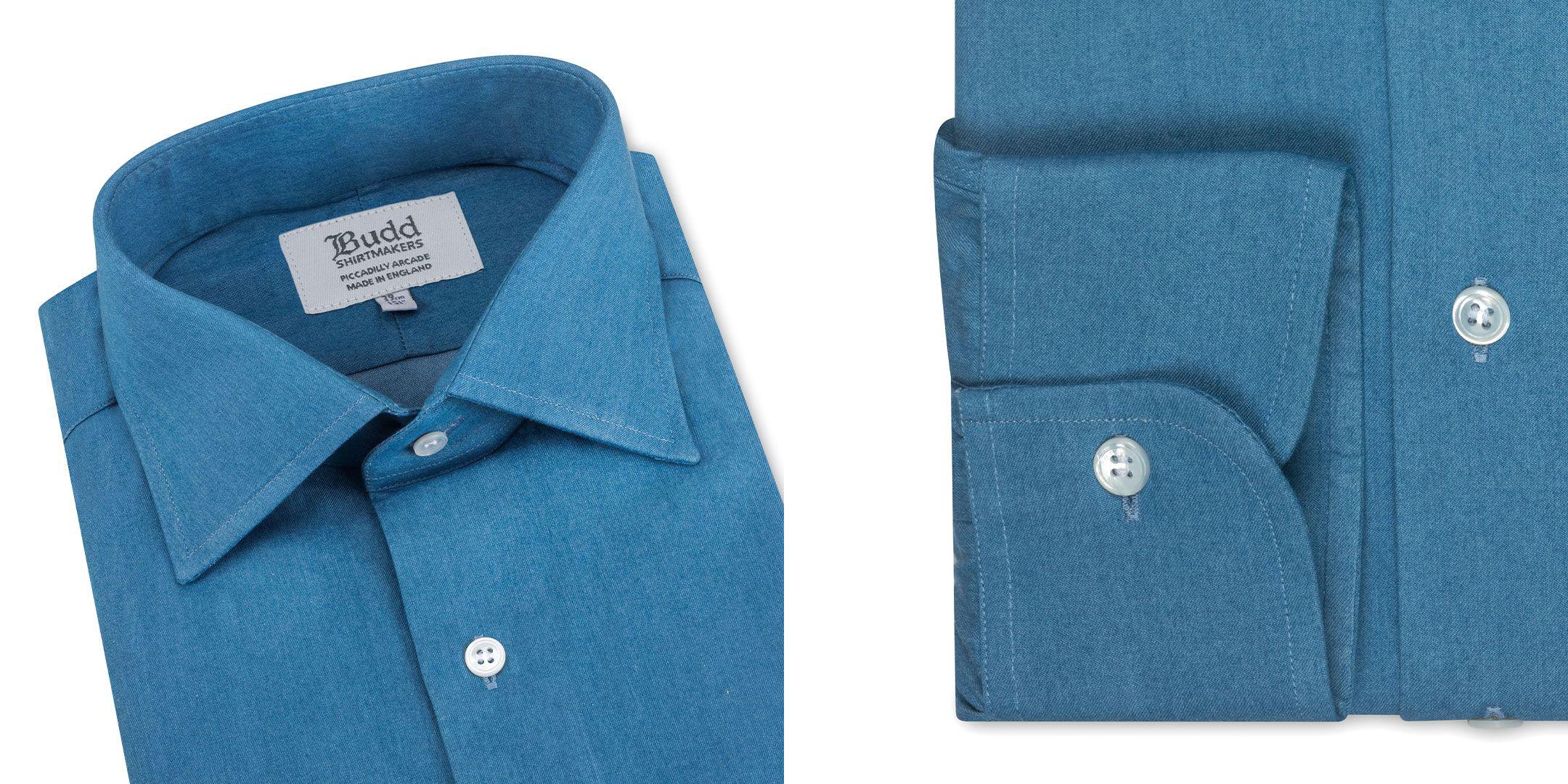 Details of Budd's smart-casual denim shirt.