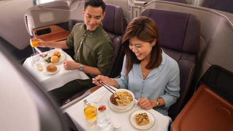 Singapore Airlines Business Class Dining