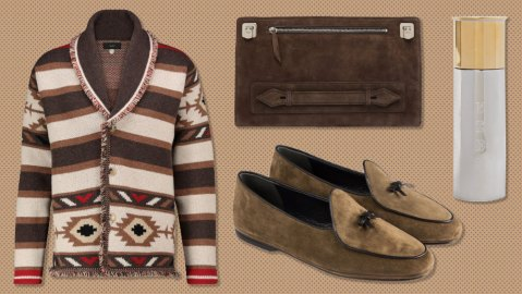 An Alanui cardigan, Métier pouch, Purdey flask and Rubinacci loafers.