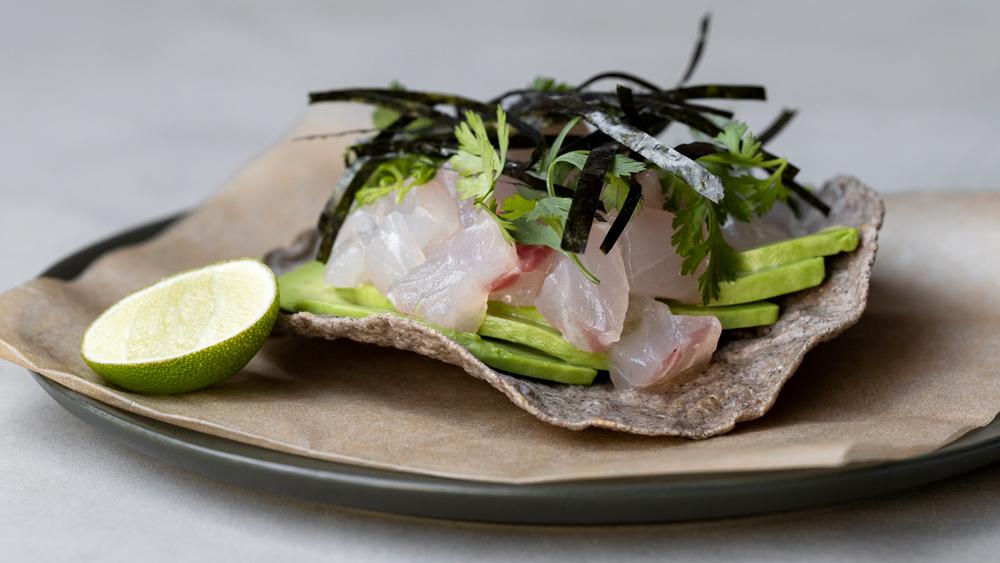 fish tartare avocado furikake tostada
