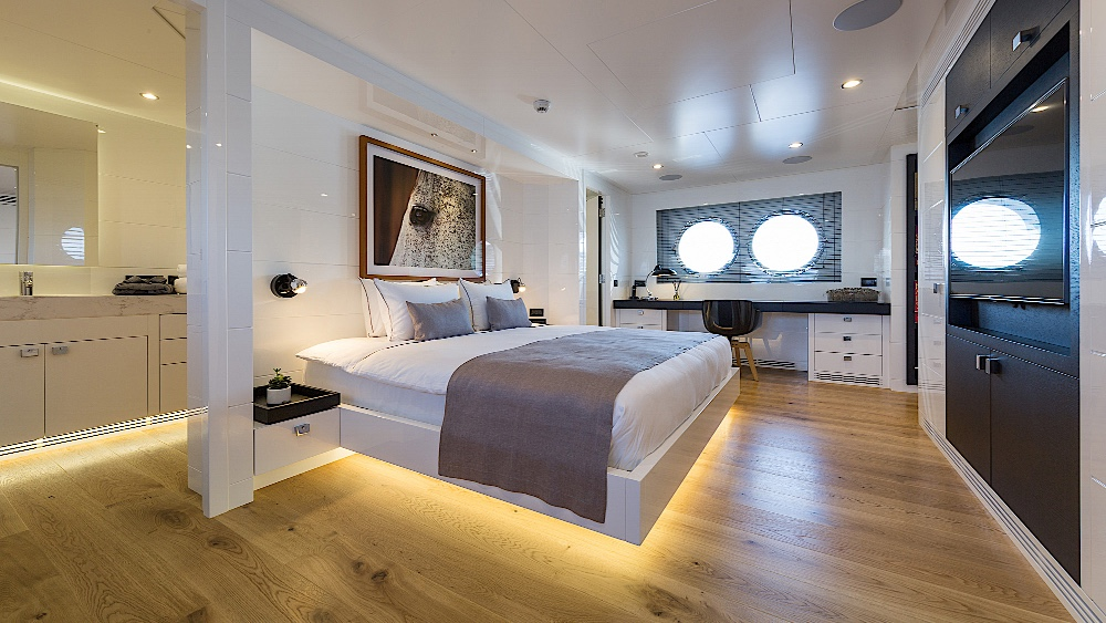 Simple interior design on Sexy Fish superyacht in the master suite