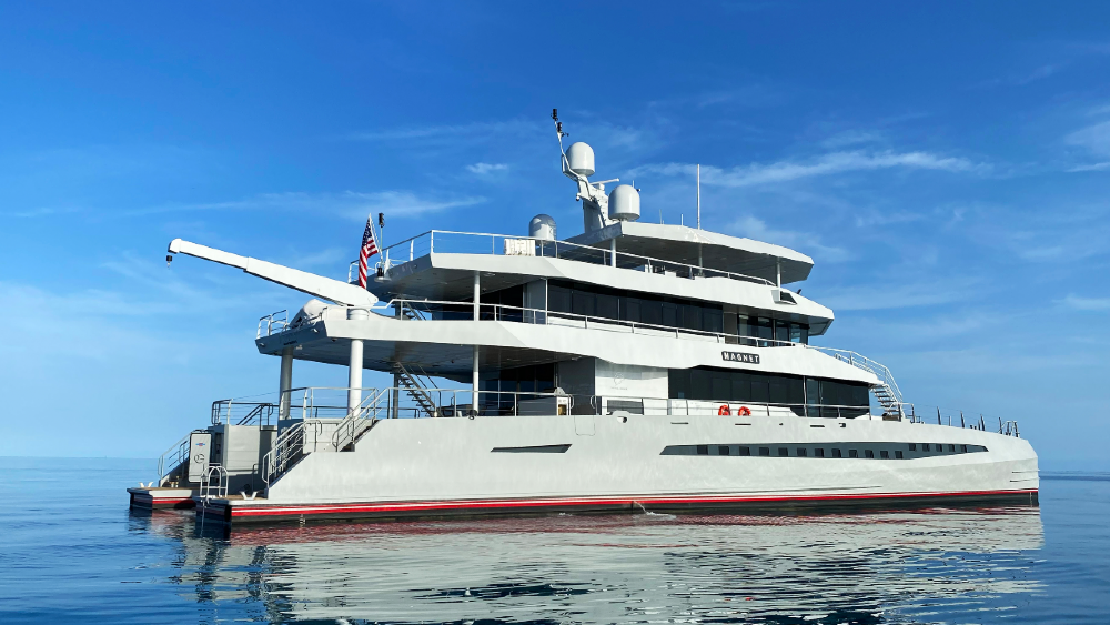 Metal Shark's New 148-foot 40-Meter Superyacht Catamaran Magnet Rear End
