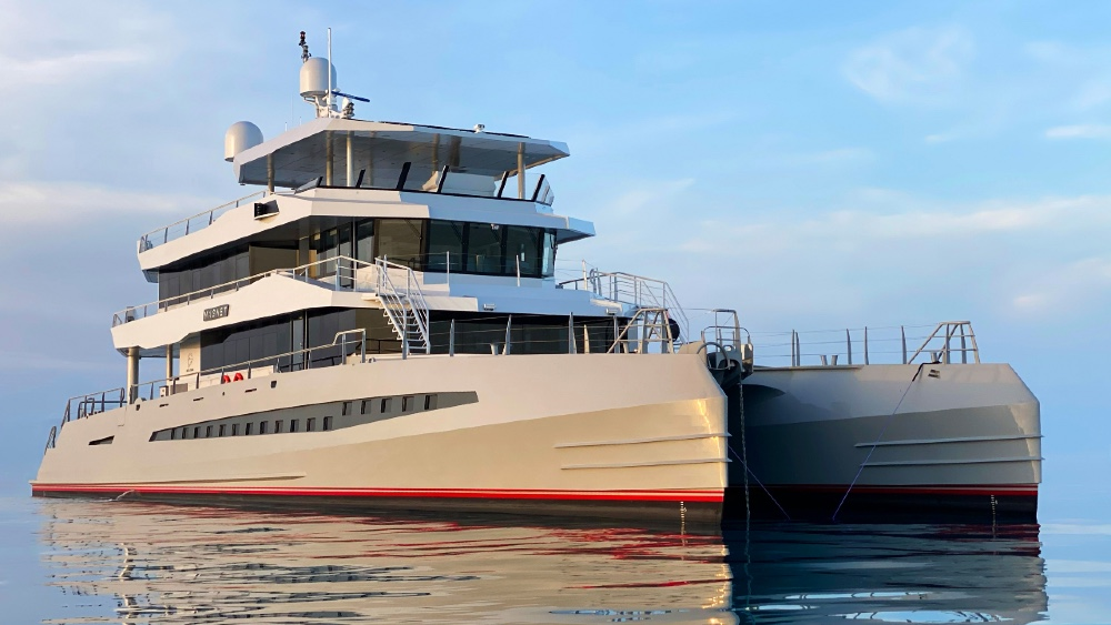Metal Shark's New 148-foot 40-Meter Superyacht Catamaran Magnet Forward View