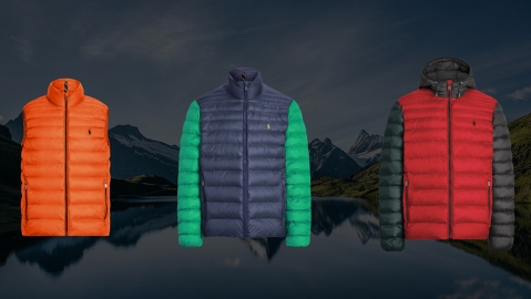 Three men's styles from Ralph Lauren's new custom packable jacket program.