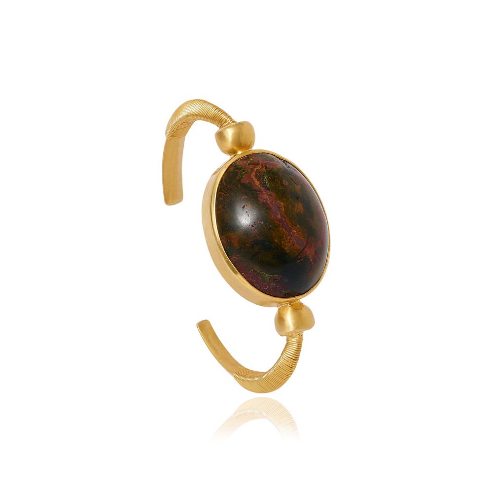 Pippa Small 18-Karat Gold Greco Persian Heliotrope Scaraboid Bangle