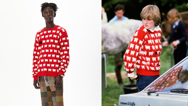 The iconic sheep sweater, revived in Rowing Blazers new collection, and originally worn by Princess Diana in 1980.
