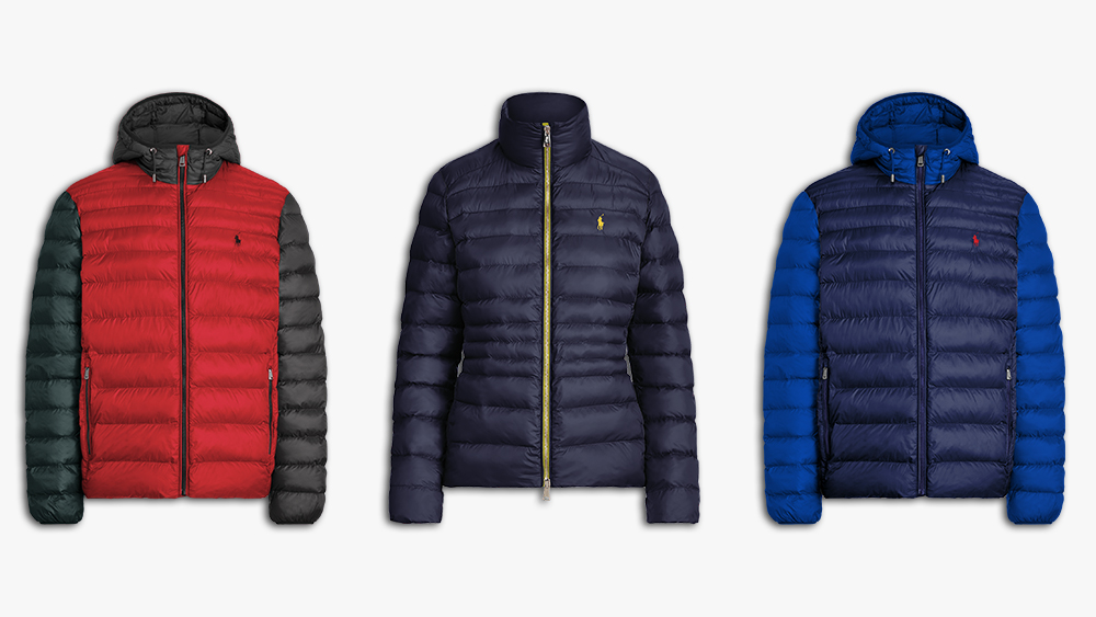 Two variations of the men's hooded jacket and, center, the women's mock neck style.