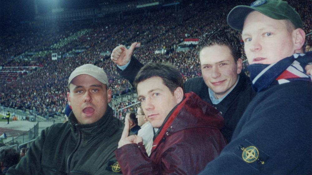 Arsenal F.C. fans wearing Stone Island in Germany.