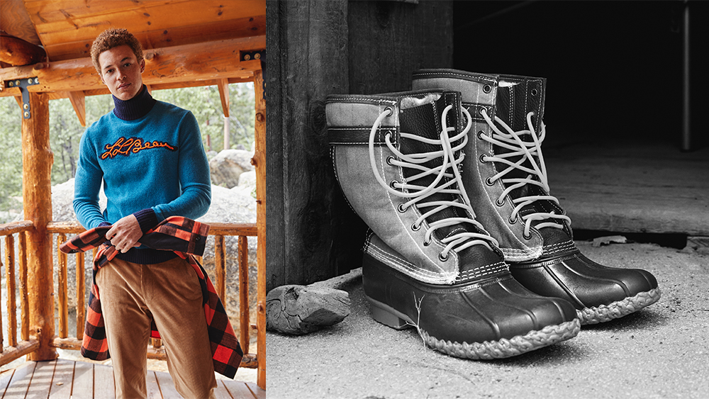 Todd Snyder x L.L. Bean turtleneck, flannel and cords; Todd Snyder x L.L. Bean 'Bean boot'