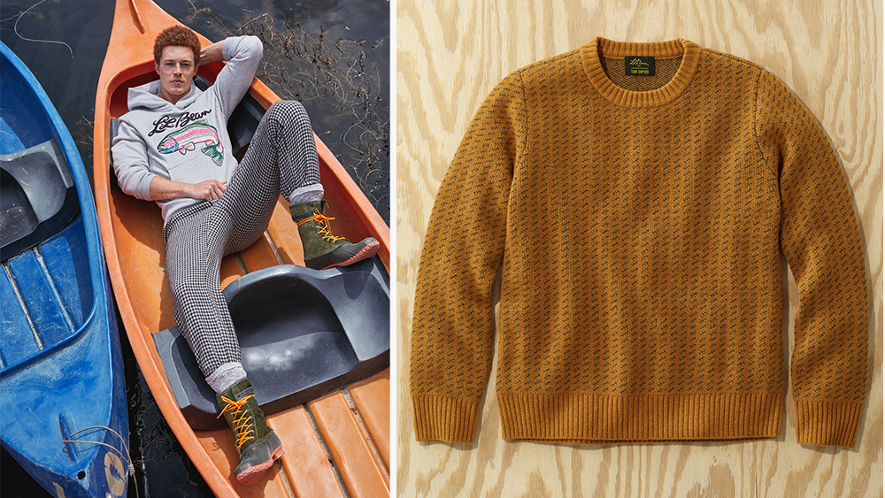 Todd Snyder x L.L. Bean hoodie, trousers; Norwegian sweater.