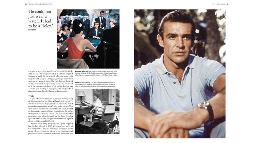 "Pages 20-21 of ""Vintage Rolex"" Featuring Sean Connery"