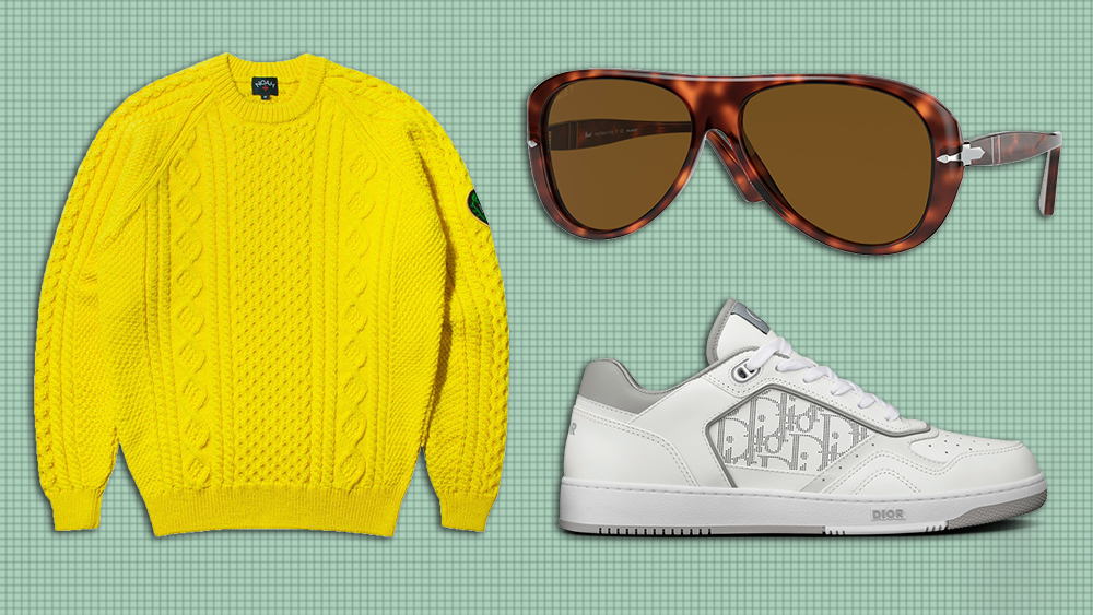 Noah sweater, Persol sunglasses, Dior sneakers