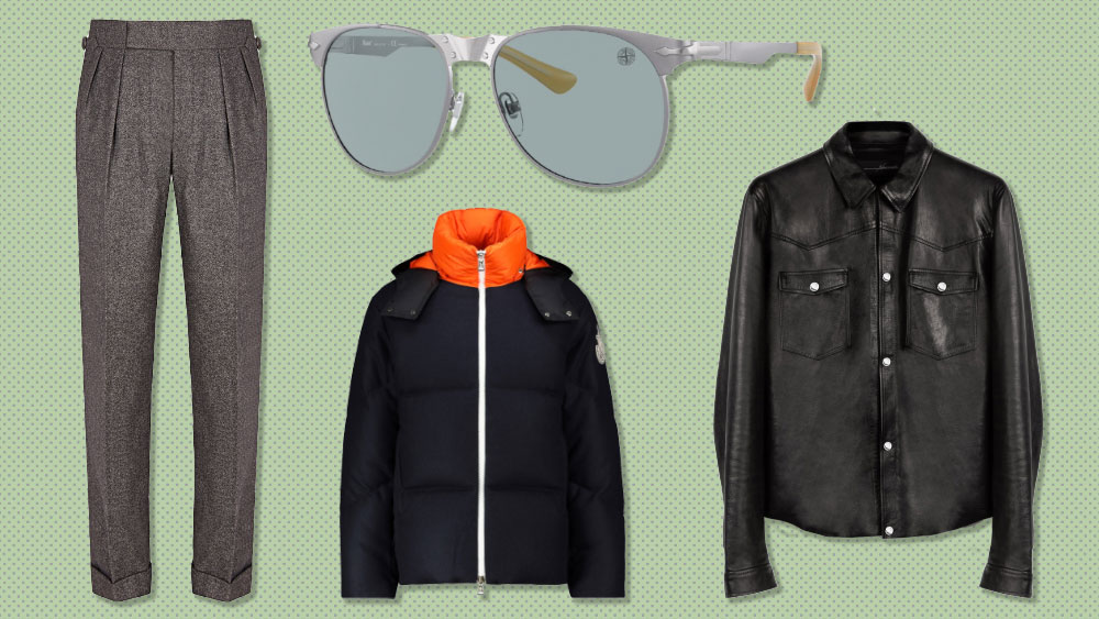 Edward Sexton trousers, Stone Island x Persol sunglasses, By The Namesake leather jacket, Moncler Genius puffer