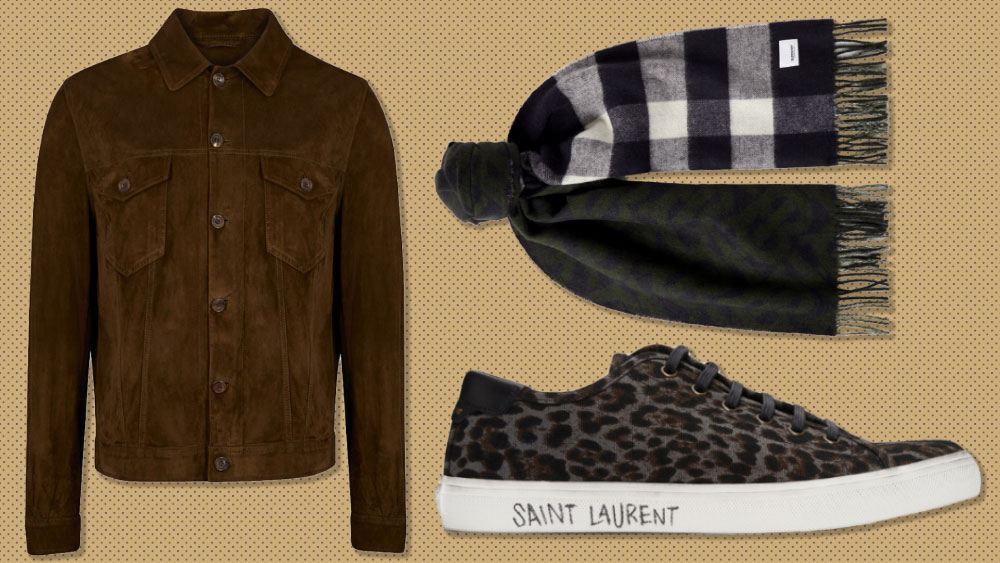 Anderson & sheppard suede jacket, Burberry scarf, Saint Laurent sneakers