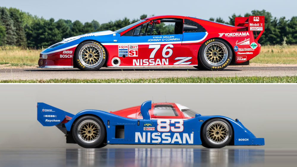 A 1989 300ZX Turbo IMSA GTO (top) and 1990 Nissan NPT-90, race cars offered through Stratas Auctions.