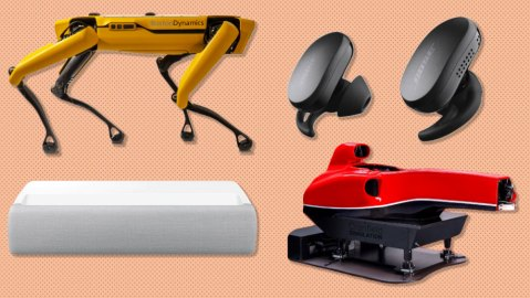 Boston Dynamics Spot robotic dog, Bose QuietComfort Earbuds, Cranfield Simulation F1 Simulator, Samsung The Premiere LSP9T Ultra-Short Throw Projector