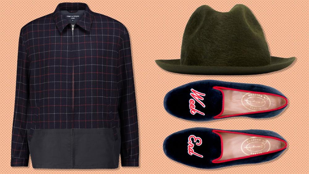 Comme Des Garçons jacket, Borsalino hat, Stubbs & Wootton slippers