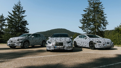 The Mercedes-Benz (from left to right) EQA, EQS and EQE