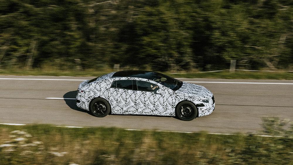 The Mercedes EQS undergoing testing