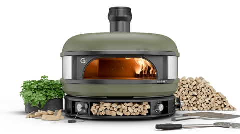The Gozney Dome wood-fire oven in olive green
