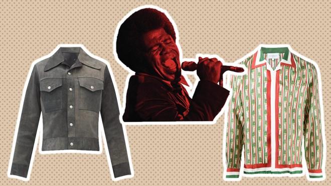 Maison Margiela suede jacket, James Brown, Casablanca silk shirt