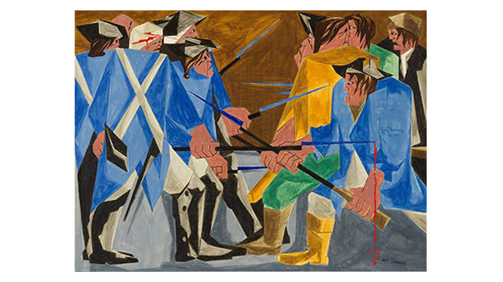 'There are combustibles in every State, which a spark might set fire to. -- Washington, 26 December 1786' (1956) by Jacob Lawrence
