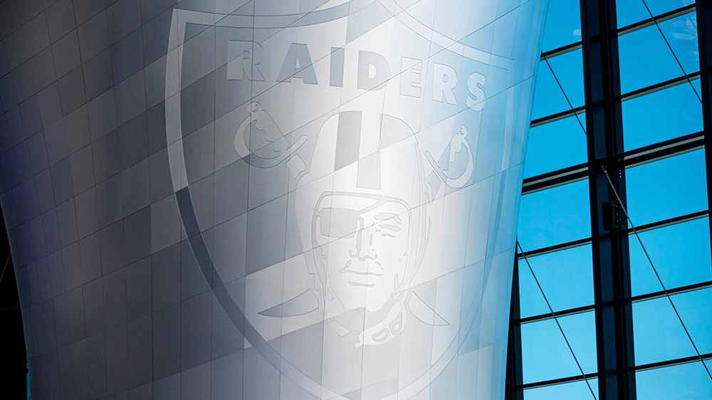 A close-up of the Raiders's logo on the Memorial Torch