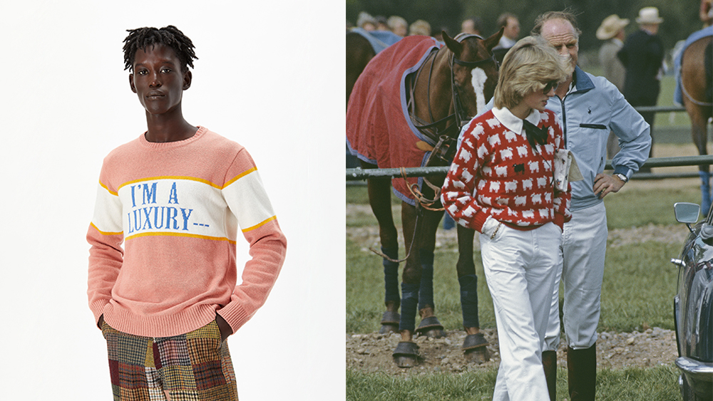 A sweater from the new collection; Diana, princess of Wales, at polo.