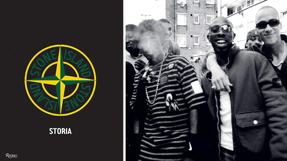"""The cover of """"Stone Island: Storia""""; the So Solid Crew in Stone Island."""