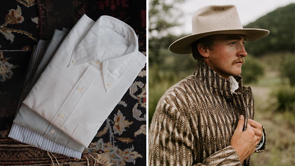 Wythe's OCBDs and Western yoke overcoat.