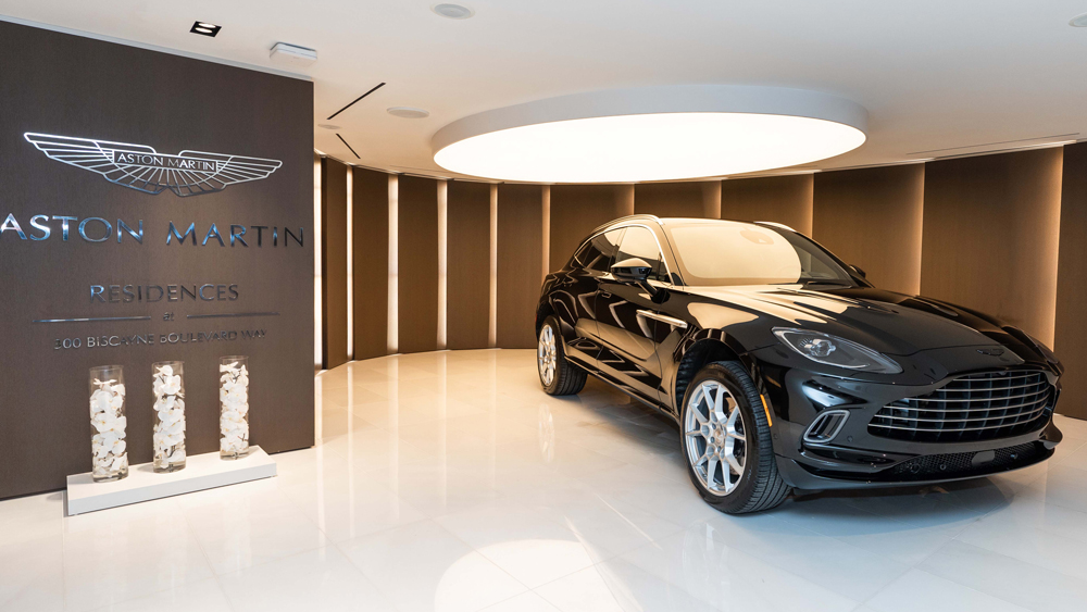 The first Aston Martin DBX for a US customer arrives at the Aston Martin Residences in Miami.